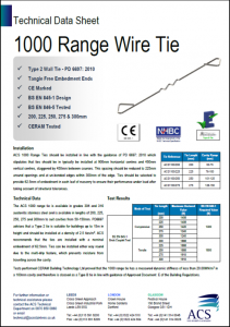 Image of 1000 range wire tie data sheet