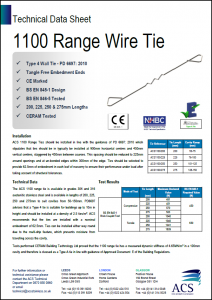 Image of 1100 range wire tie data sheet