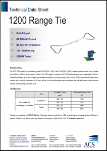Image of 1200 range tie data sheet