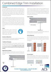 Image of combined edge trim installation data sheet