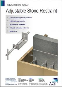 Image of adjustable stone restraint data sheet
