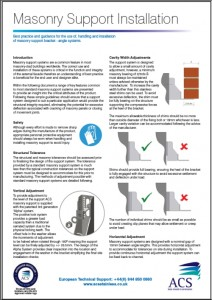 Image of masonry support installation data sheet