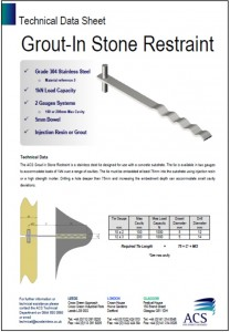 Image of grout-in stone restraint data sheet