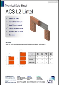 Image of L2 lintel data sheet