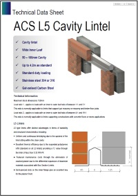 Image of L5 cavity lintel data sheet