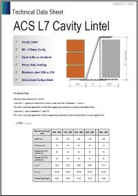 Image of L7 cavity lintel data sheet