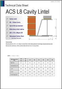 Image of L8 cavity lintel data sheet