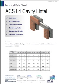 Image of L4 cavity lintel data sheet