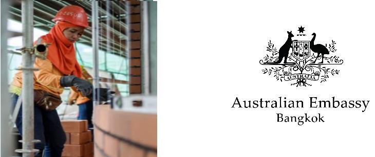 Image of female bricklayers at australian embassy