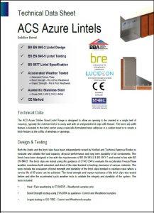 Image of Azure lintels data sheet