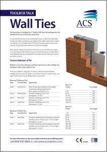 Image of toolbox talk wall ties data sheet